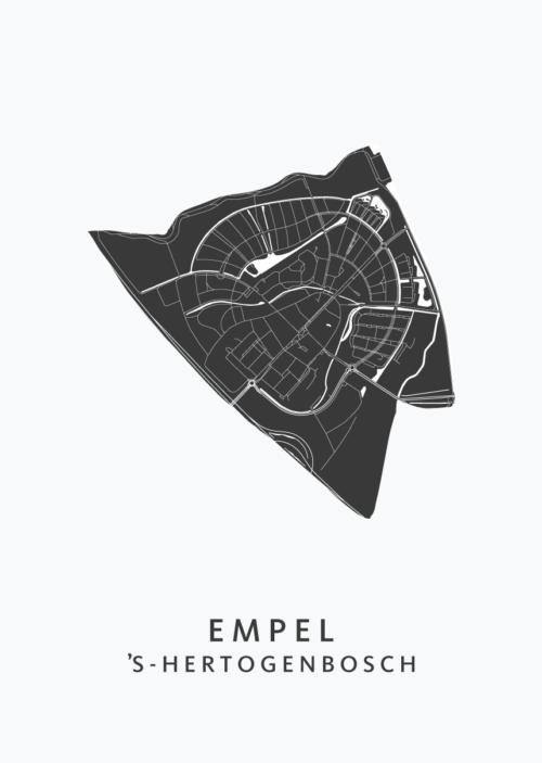 's-Hertogenbosch - Empel White Stadskaart Poster | Kunst in Kaart