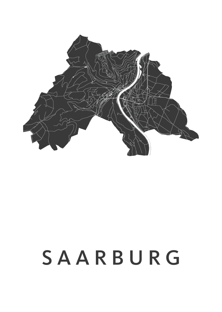 Saarburg White Stadskaart Poster | Kunst in Kaart