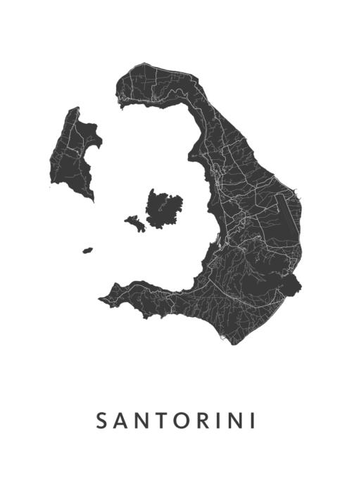 Santorini Stadskaart - Wit