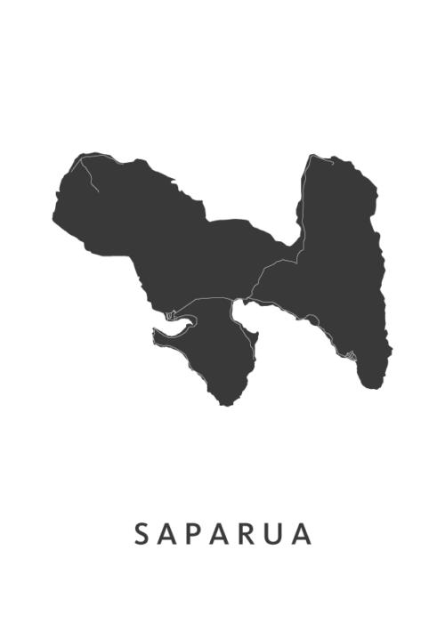Saparua Stadskaart - Wit | Kunst in Kaart