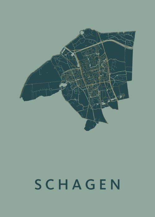 Schagen Amazon Stadskaart Poster | Kunst in Kaart