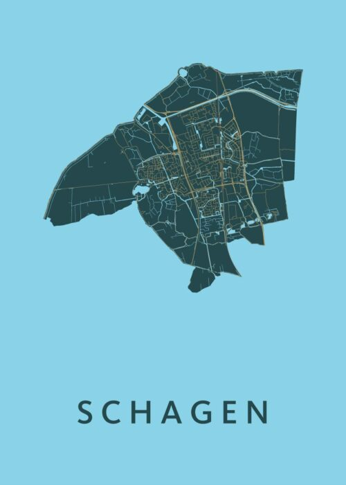 Schagen Azure Stadskaart Poster | Kunst in Kaart