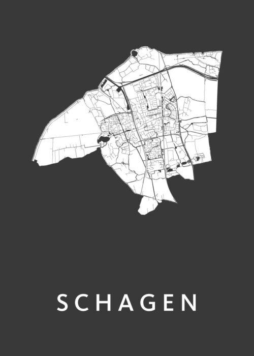Schagen Black Stadskaart Poster | Kunst in Kaart