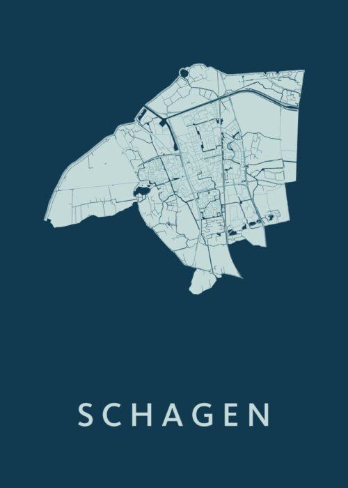 Schagen Feldgrau Stadskaart Poster | Kunst in Kaart