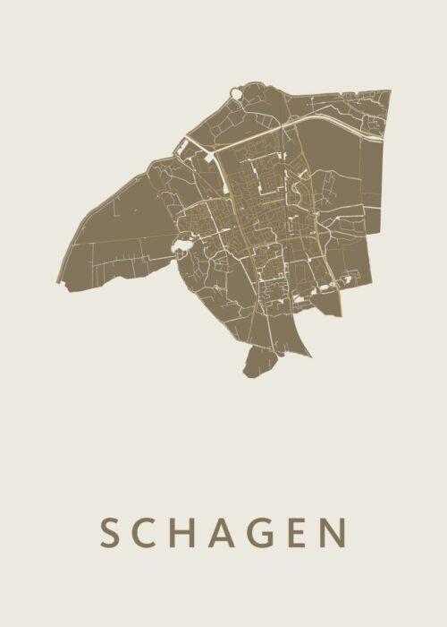 Schagen Gold Stadskaart Poster | Kunst in Kaart