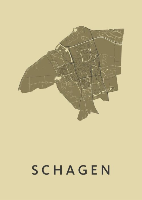 Schagen GoldenRod Stadskaart Poster | Kunst in Kaart