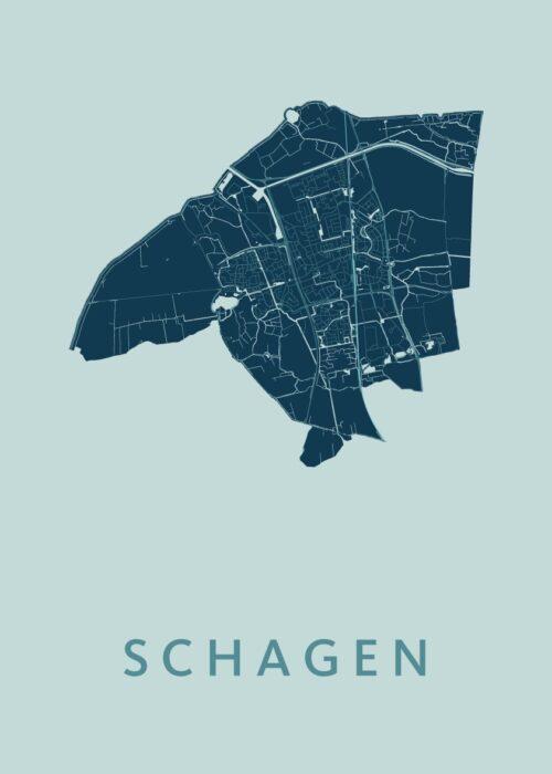 Schagen Mint Stadskaart Poster | Kunst in Kaart