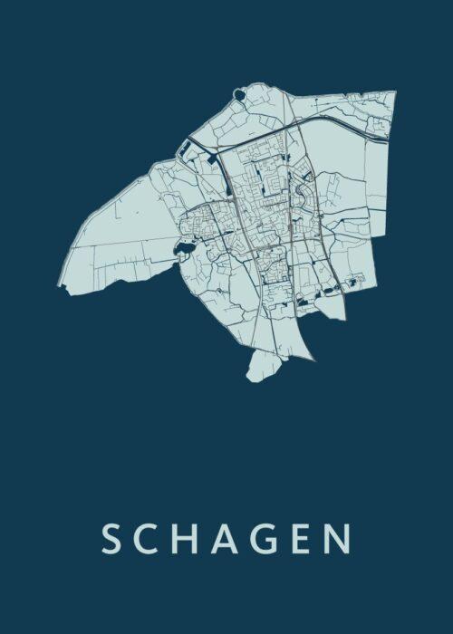 Schagen Navy Stadskaart Poster | Kunst in Kaart