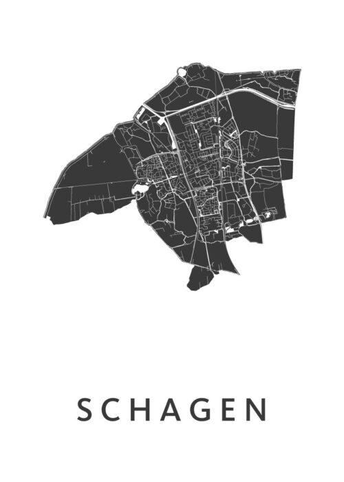 Schagen White Stadskaart Poster | Kunst in Kaart