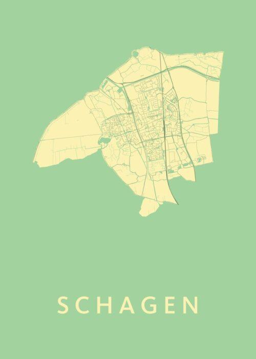 Schagen Spring Stadskaart Poster | Kunst in Kaart