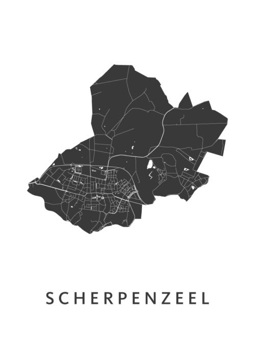 Scherpenzeel White Stadskaart Poster | Kunst in Kaart
