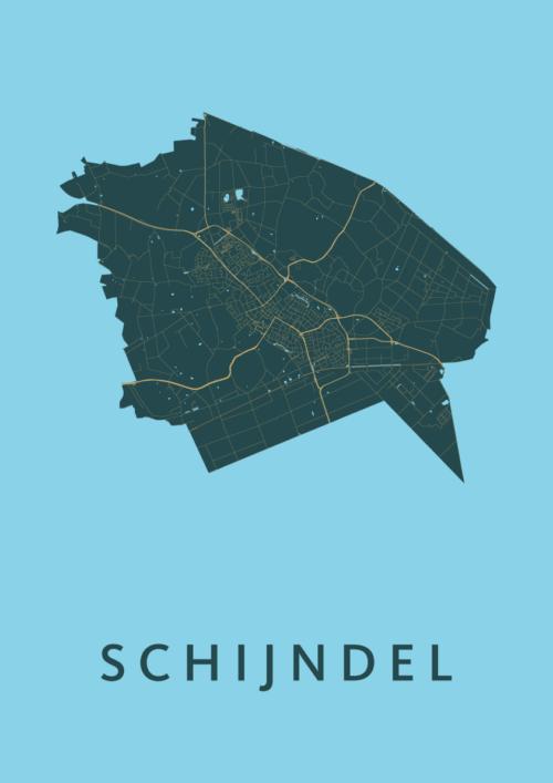 Schijndel Azure Stadskaart Poster | Kunst in Kaart