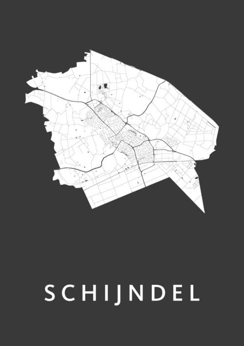 Schijndel Black Stadskaart Poster | Kunst in Kaart