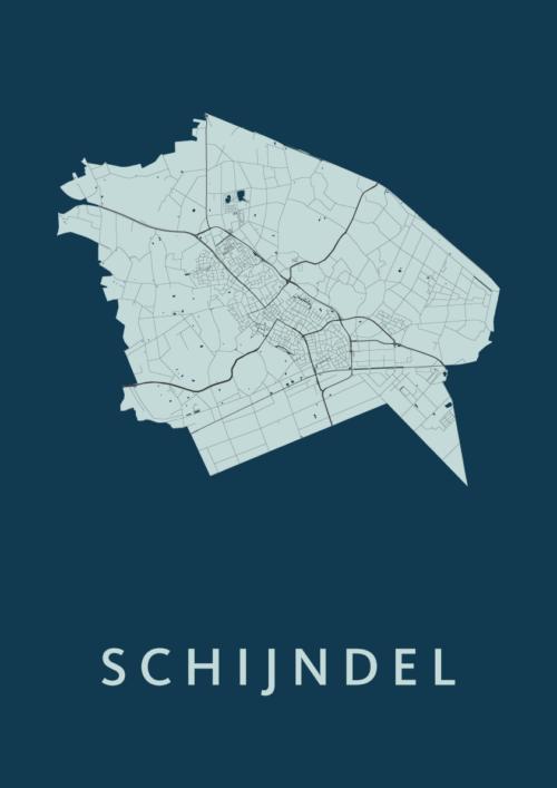 Schijndel Navy Stadskaart Poster | Kunst in Kaart
