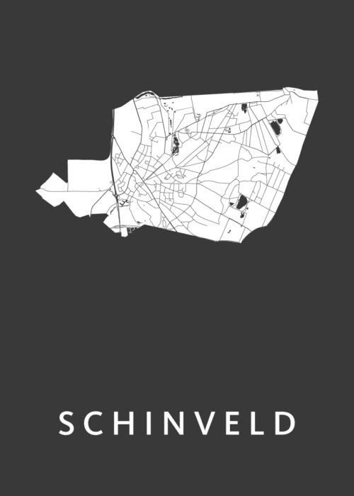 Schinveld Black Stadskaart Poster | Kunst in Kaart