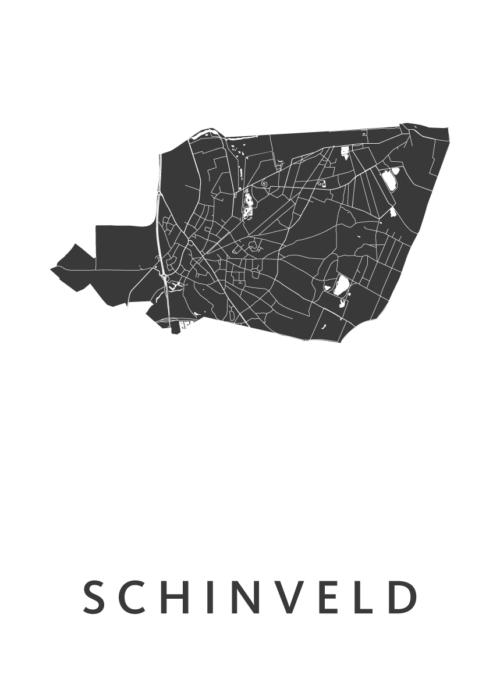Schinveld White Stadskaart Poster | Kunst in Kaart