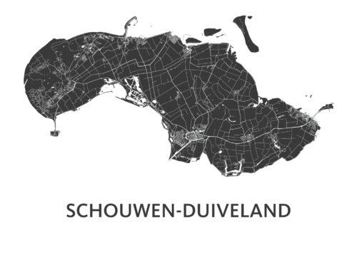 Schouwen-Duiveland White Map