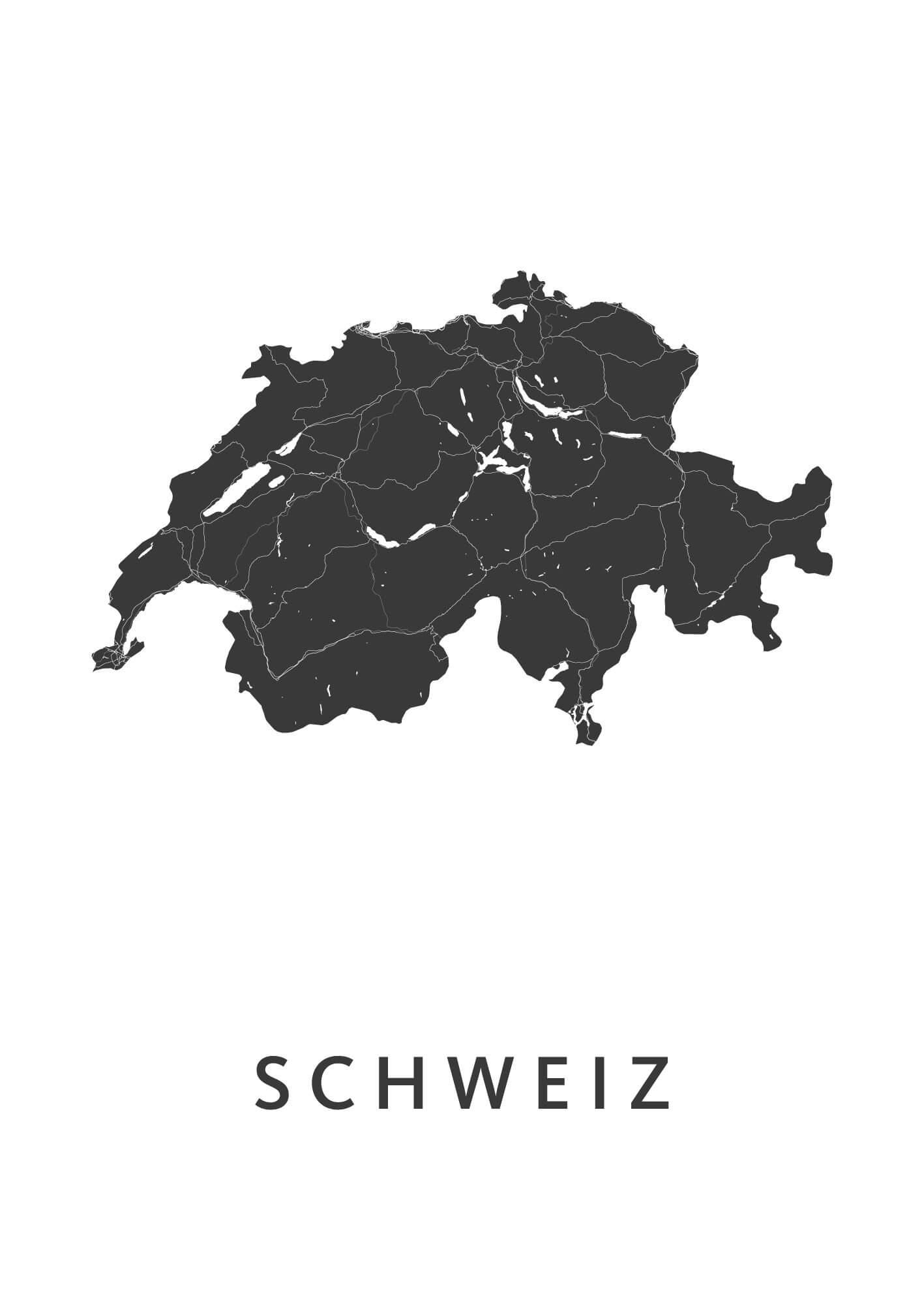 Schweiz Country Map stadskaart poster