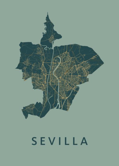 Sevilla Amazon A3 stadskaart poster
