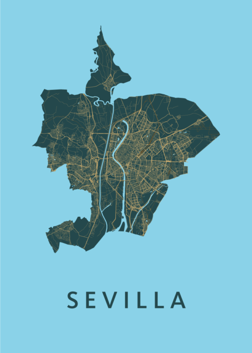 Sevilla Azure Stadskaart Poster   Kunst in Kaart