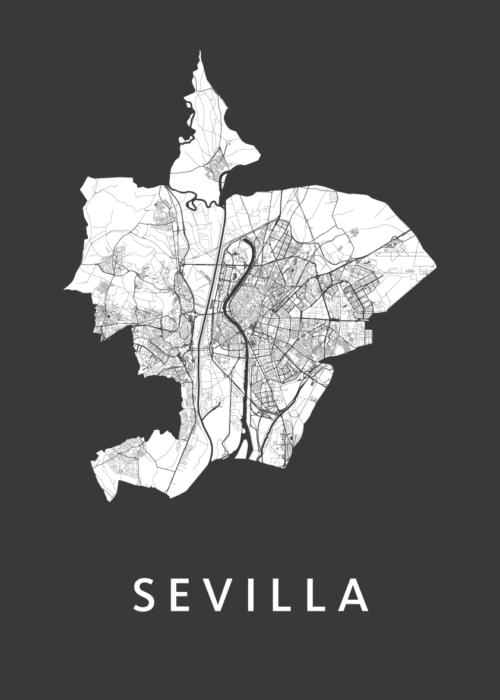 Sevilla Black A3 stadskaart poster