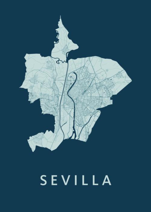 Sevilla Feldgrau A3 stadskaart poster