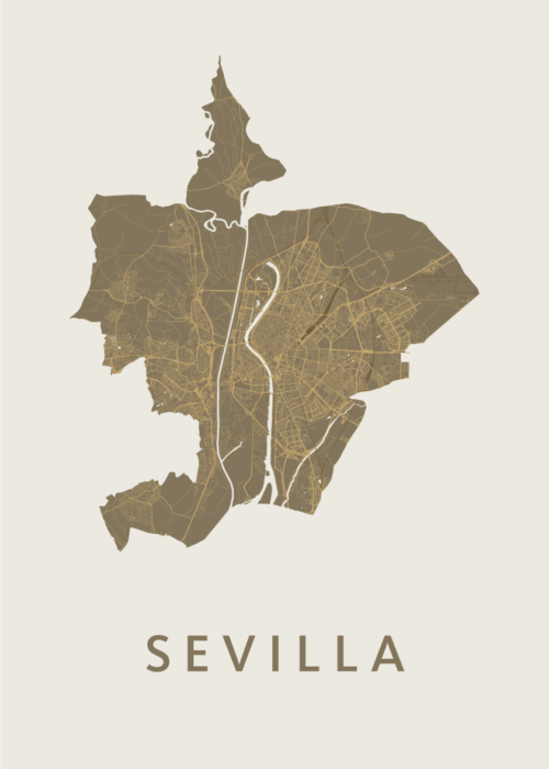 Sevilla Gold Stadskaart Poster   Kunst in Kaart