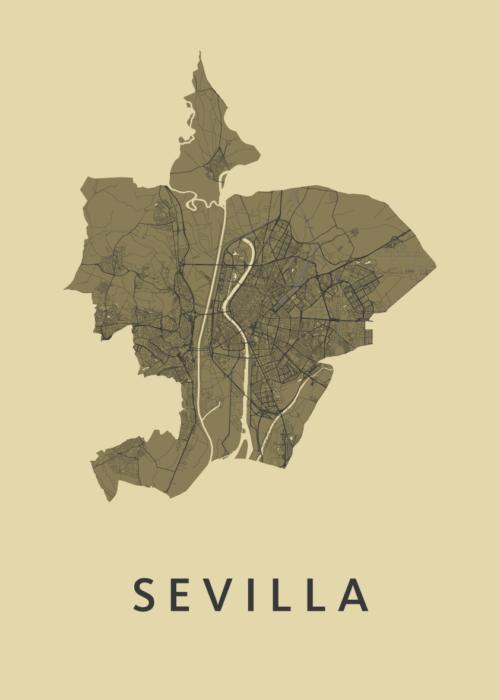 Sevilla GoldenRod Stadskaart Poster   Kunst in Kaart