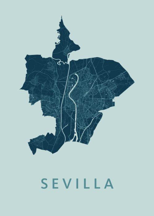 Sevilla Mint A3 stadskaart poster