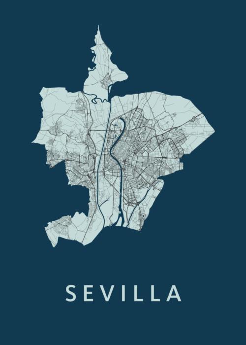 Sevilla Navy A3 stadskaart poster