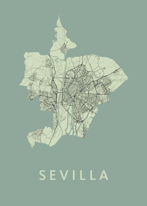 Sevilla Olive Stadskaart Poster   Kunst in Kaart