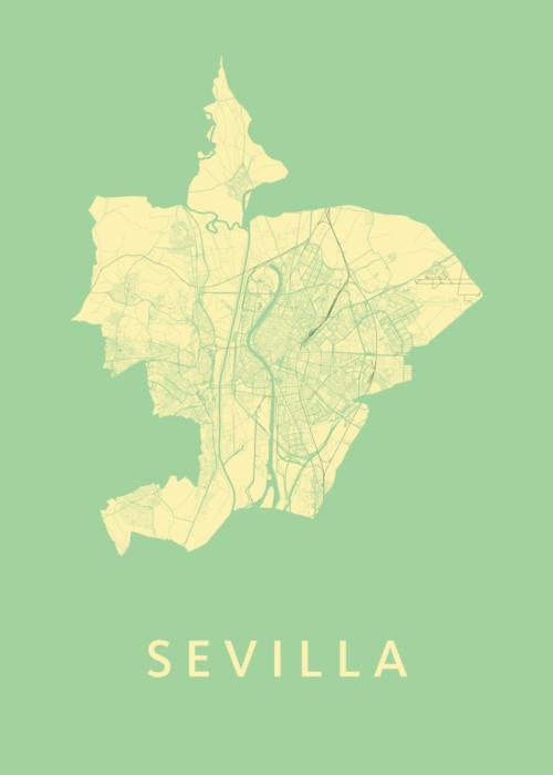 Sevilla Spring Stadskaart Poster   Kunst in Kaart