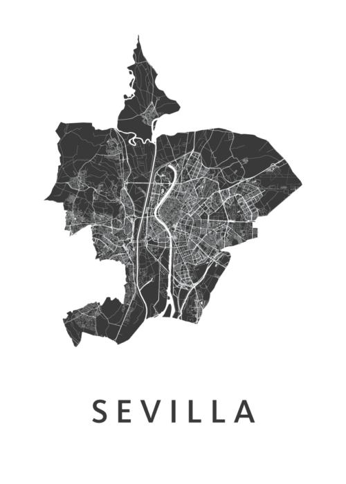 Sevilla White Stadskaart Poster   Kunst in Kaart