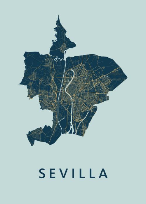 Sevilla prussian A3 stadskaart poster