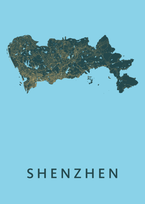 Shenzhen Azure Stadskaart Poster   Kunst in Kaart