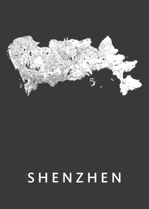 Shenzhen Black Stadskaart Poster   Kunst in Kaart