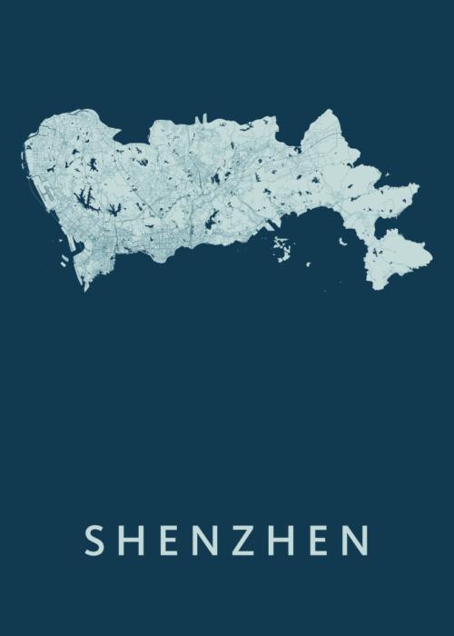 Shenzhen Feldgrau Stadskaart Poster   Kunst in Kaart