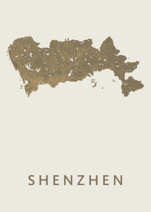 Shenzhen Gold Stadskaart Poster   Kunst in Kaart