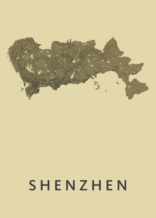 Shenzhen GoldenRod Stadskaart Poster   Kunst in Kaart