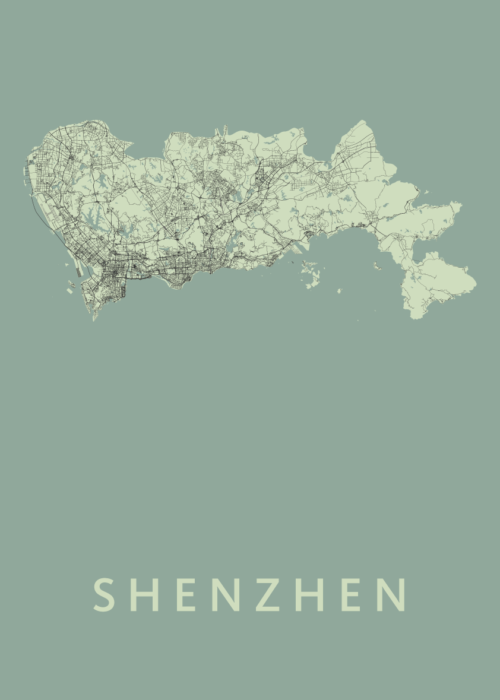 Shenzhen Olive Stadskaart Poster   Kunst in Kaart