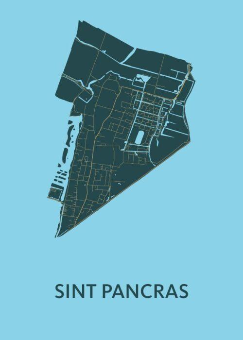 Sint Pancras Azure Stadskaart Poster | Kunst in Kaart