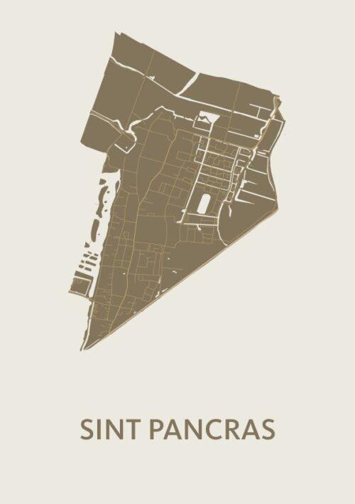 Sint Pancras Gold Stadskaart Poster   Kunst in Kaart