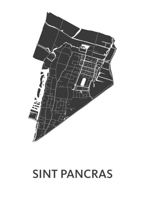 Sint Pancras White Stadskaart Poster | Kunst in Kaart