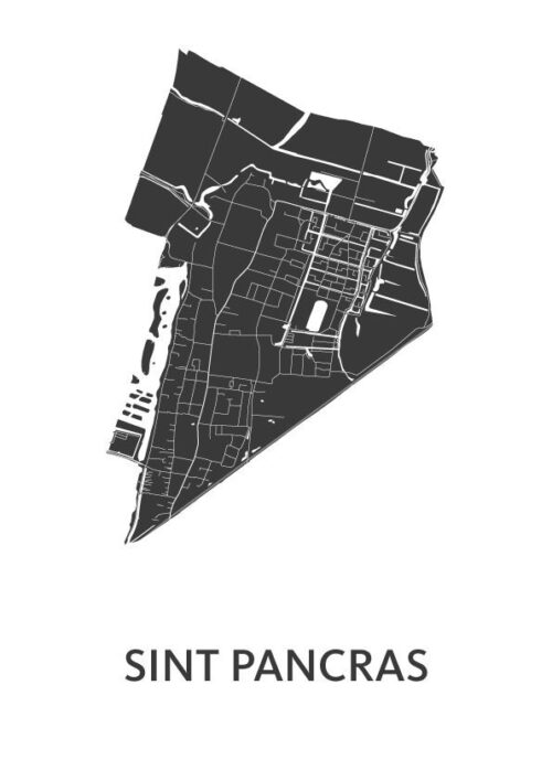 Sint Pancras White Stadskaart Poster   Kunst in Kaart