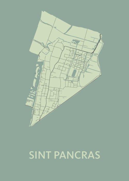 Sint Pancras Olive Stadskaart Poster | Kunst in Kaart