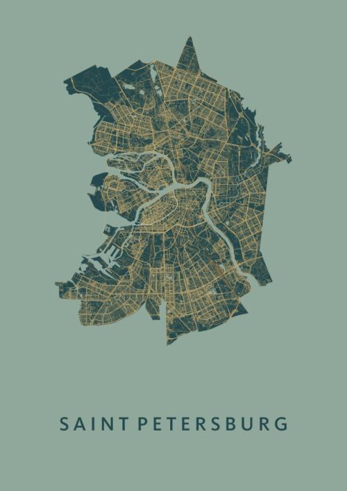 Saint Petersburg Amazon Stadskaart Poster   Kunst in Kaart