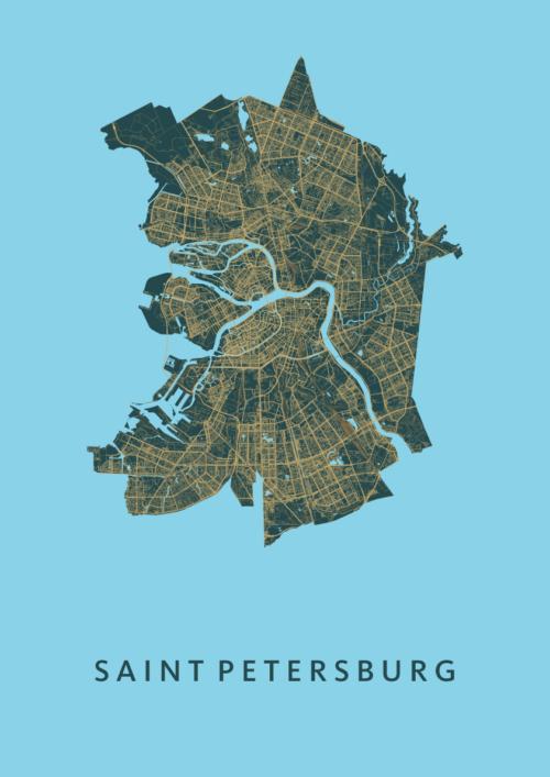 Sintpetersburg Azure A3 stadskaart poster