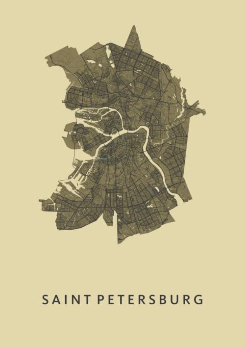 Saint Petersburg GoldenRod Stadskaart Poster | Kunst in Kaart