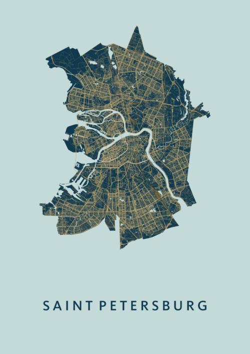 Saint Petersburg Prussian Stadskaart Poster | Kunst in Kaart
