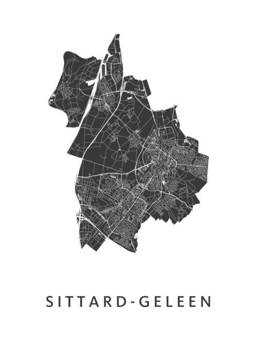 Sittard-Geleen White Stadskaart Poster   Kunst in Kaart